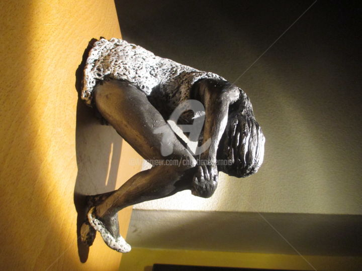 """ Rêverie ""  2015 - Sculpture,  7.9 in, ©2015 by Christiane Bernais -                                                                                                                                                                                                      Women, sculpture, argenté, femme"
