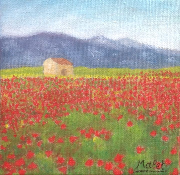 CHAMPS DE COQUELICOTS - Painting,  0.4 in, ©2018 by Christiane Malet -                                                                                                                                                                          Figurative, figurative-594, Flower