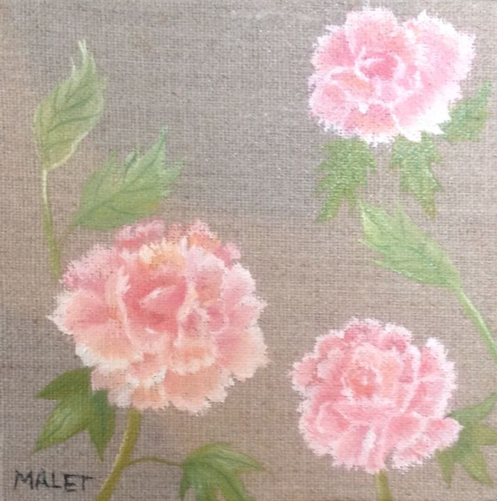 OEUILLETS - Painting,  0.4 in, ©2018 by Christiane Malet -                                                                                                                                                                          Figurative, figurative-594, Flower