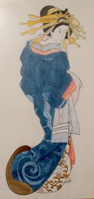 GEICHA , ENCRE DE CHINE - Painting,  0.4 in, ©2006 by Christiane Malet -                                                              GEICHA DEBOUT EN ROBE BLEUE