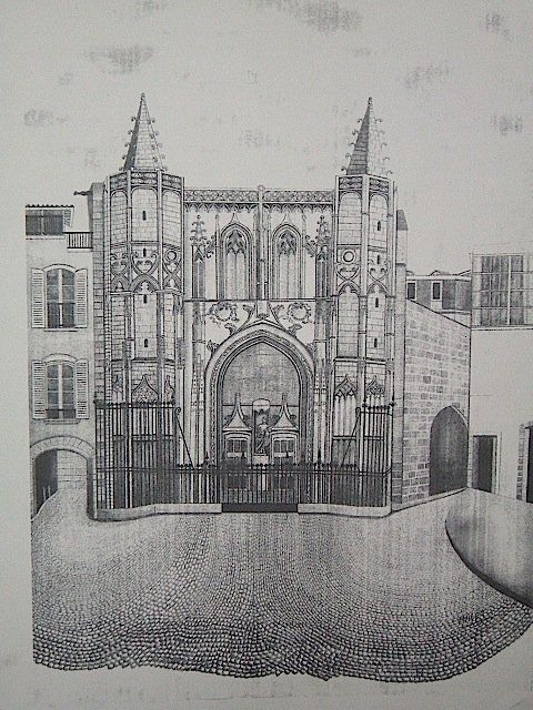 EGLISE ST-PIERRE, AVIGNON , MINE DE PLOMP - Drawing,  0.4 in, ©2004 by Christiane Malet -                                                                                                              Black and White, EGLISE ST-PIERRE RÉALISÉE AU CRAYON
