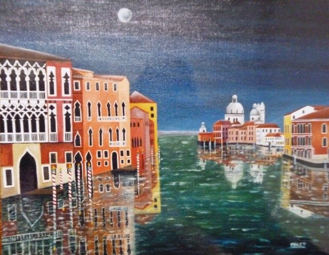 GRAND CANAL , HUILE SUR TOILE - Painting,  19.7x25.6 in, ©2006 by Christiane Malet -                                                                                                                                                                                                                      Figurative, figurative-594, GRAND CANAL, HUILE SUR TOILE