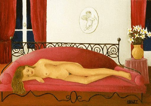 ATTENTE , HUILE SUR PAPIER - Painting,  19.7x25.6 in, ©2001 by Christiane Malet -                                                                                                              Nude, ATTENTE