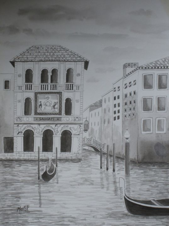 GRAND CANAL , ENCRE DE CHINE - Painting,  15.4x11.4x0.4 in, ©2013 by Christiane Malet -                                                                                                                                                                                                                                                                                                                                                                                                                              VENISE, MALET, ENCRE CHINE, DESSIN, ILLUSTRATION, ART, PEINTURE, AVIGNON, CRÉATION