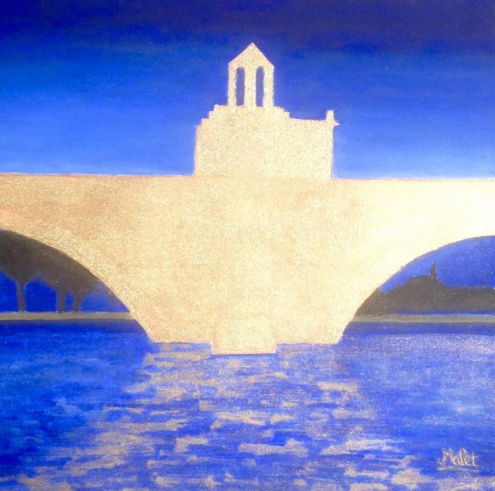 PONT St BENEZET OR AVIGNON - Painting,  0.4 in, ©2017 by Christiane Malet -                                                                                                                                                                                                                                                                                                                                                                                                                                                      Figurative, figurative-594, Architecture, Pont st benezet, pont d'Avignon, huile, or, doré, avignon