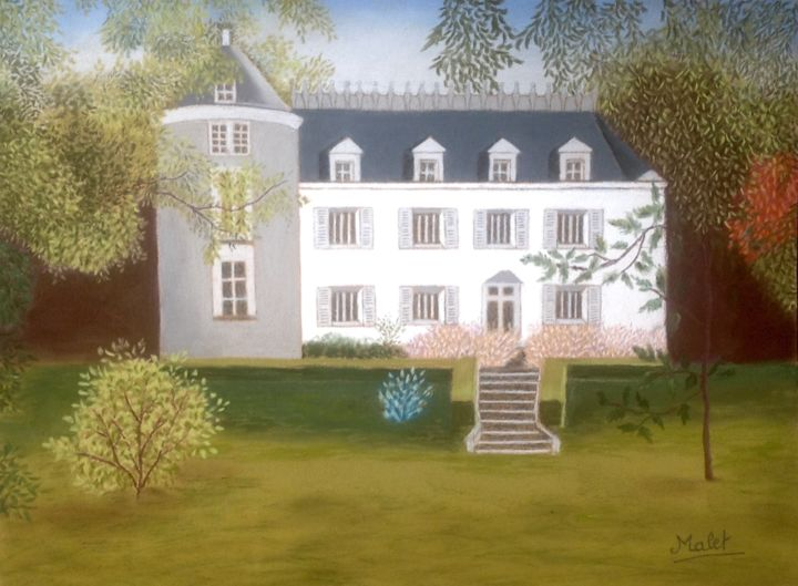 Manoir de la vigneraie - Painting, ©2017 by Christiane Malet -