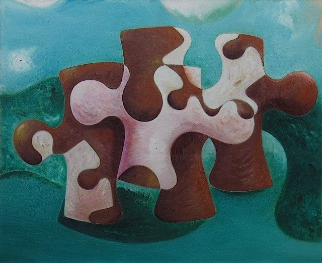 Vache-puzzle, huile/toile. - Painting,  73x60 cm ©2000 by Christian Lopez -
