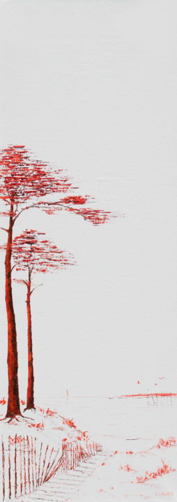Pin, Bassin d'Arcachon en rouge et noir X - Painting,  90x30 cm ©2018 by Christian Naura -                                                                                                                        Environmental Art, Conceptual Art, Art Deco, Canvas, Tree, Nature, Seascape, Beach, pin maritime, plage, barrière girondine, bassin d'arcachon, mer