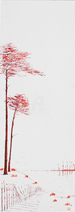Pin, Bassin d'Arcachon en rouge et noir XVII - Painting,  35.4x11.8 in, ©2019 by Christian Naura -                                                                                                                                                                                                                                                                                                                  Figurative, figurative-594, Seascape, pin, barrieres girondines, bassin d'arcachon