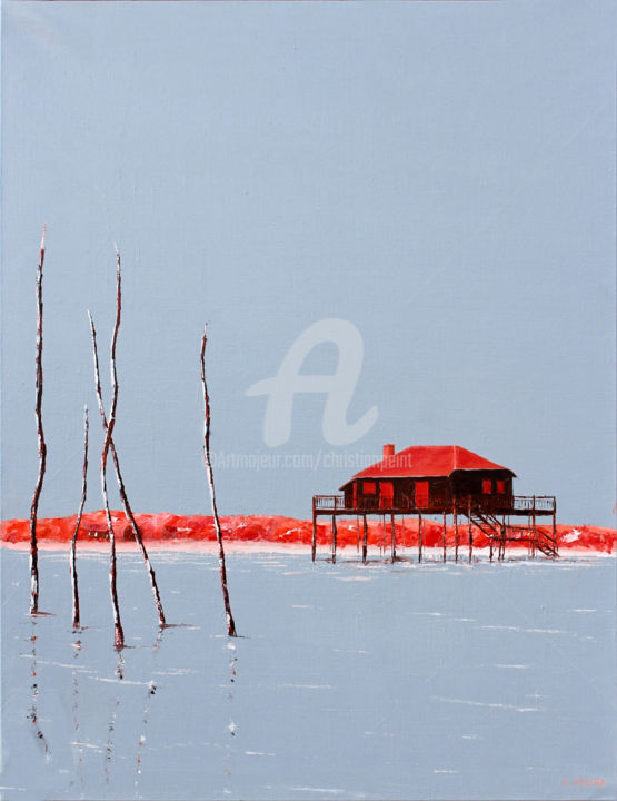 Bassin d'Arcachon, en rouge et noir CXVII - Painting,  31.9x23.6x0.8 in, ©2020 by Christian Naura -                                                                                                                                                                                                                                                                                                              Figurative, figurative-594, Culture, Water, Nature, Seascape