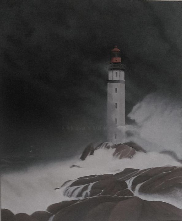 phare en finistére (29 ) - Painting,  25.6x21.3 in, ©2020 by Christian Salaun -                                                                                                                                                                                                                                                                                                                                                                                                                                                                                                  Figurative, figurative-594, Water, Nature, Seascape, phare, mer, tempete, paysage marin, finistére