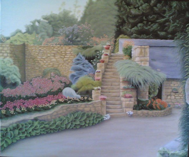 jardin daoulasien - Painting,  18.1x21.7 in, ©2007 by Christian Salaun -                                                              jardin magique