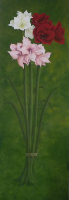 bouquet d'amaryllis - Painting,  59.1x19.7 in, ©2012 by Christian Salaun -                                                                                                                                                      fleurs, bouquet, amaryllis