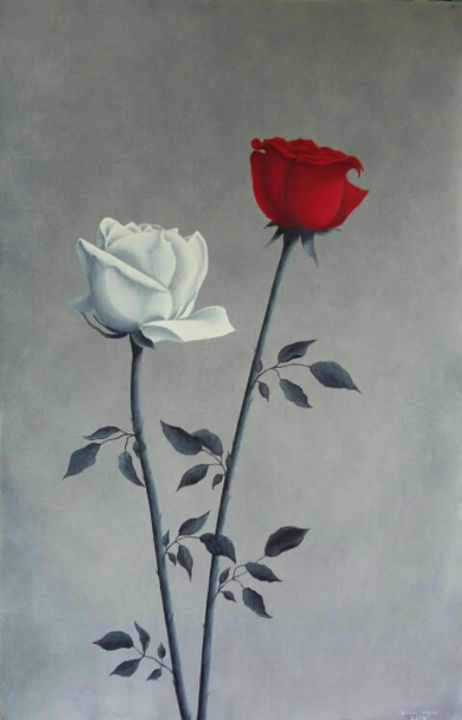 roses-en-couple.jpg - Painting,  36.2x23.6x0.4 in, ©2016 by Christian Salaun -                                                                                                                                                                                                                                                                                              Flower, fleur, rose, rouge, blanche, couple