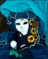 La Rose Blanche - Painting ©2000 by Christian Torres -            venise masque rose blanche