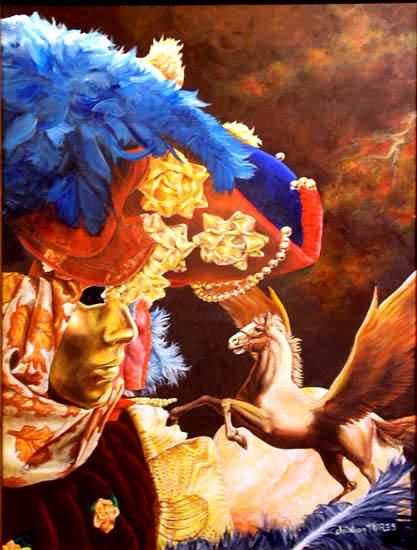 Pégase et le Masque - Painting ©2004 by Christian Torres -                            Surrealism, venise masque pegase