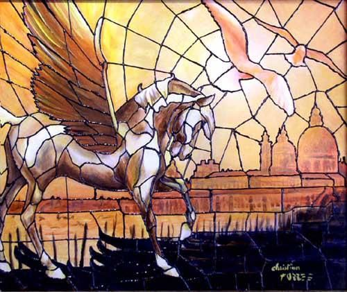 Pegasus - Painting ©2004 by Christian Torres -            venise masque rose blanche