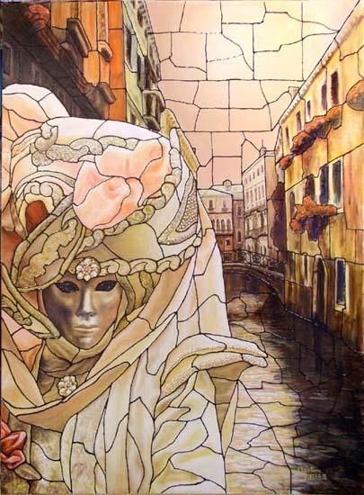 La Rose du Canal - Painting ©2004 by Christian Torres -            venise masque vitrail rose canal