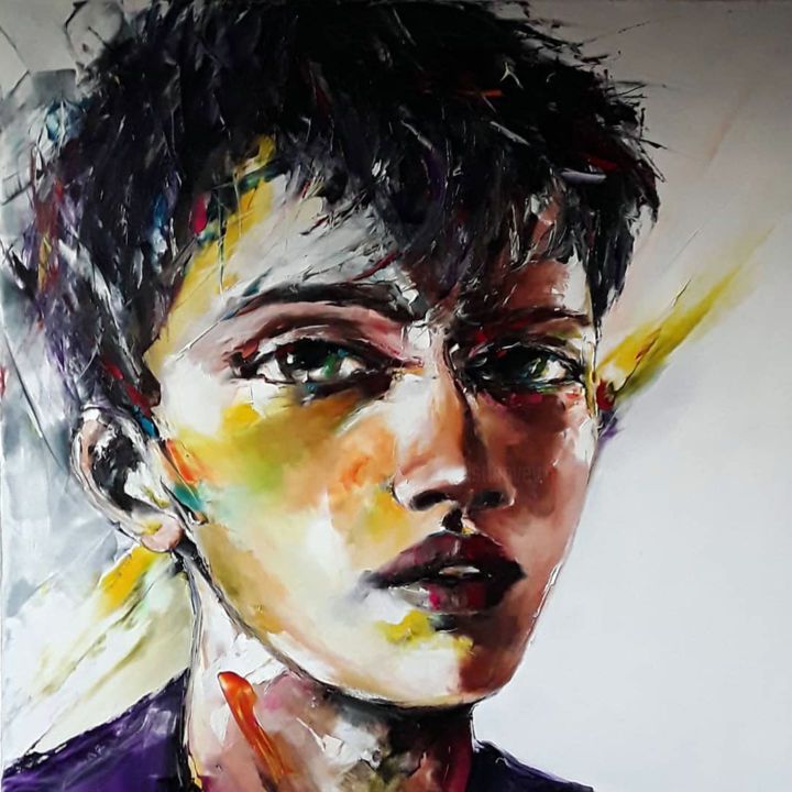 """jeunesse """"expo Portugal"""" - Painting,  80x80x3 cm ©2018 by Christian Vey -                            Portraits, homme"""