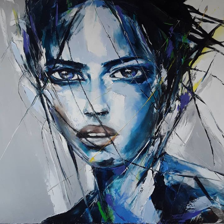 Portrait bleu - Painting,  31.5x31.5x1.2 in, ©2020 by Christian Vey -