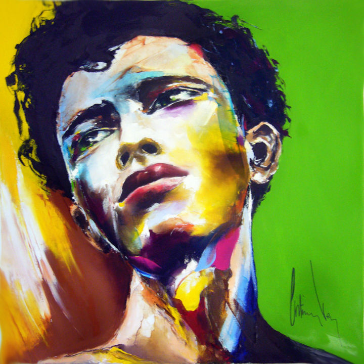 au masculin #2 - Painting,  39.4x39.4x1.2 in, ©2020 by Christian Vey -