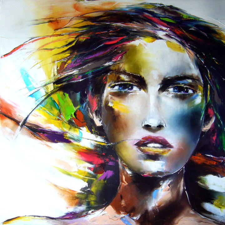 """Painting titled """"mouvement #2"""" by Christian Vey, Original Art, Oil"""