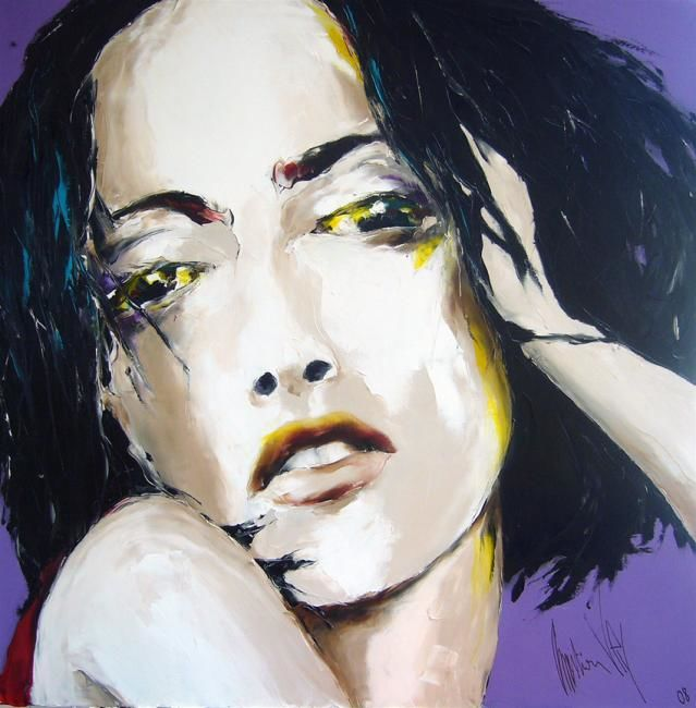 jaune et violet - Painting,  39.4x39.4 in, ©2008 by Christian Vey -