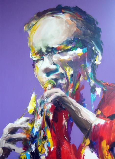 jazz violet AngelaKing Gallery USA - Painting,  43.3x31.5 in, ©2008 by Christian Vey -