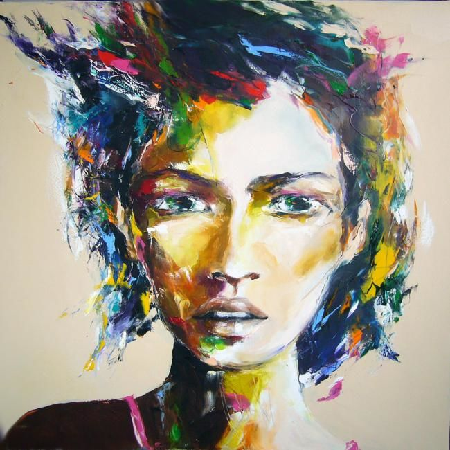 inconnue - Painting,  39.4x39.4 in, ©2011 by Christian Vey -