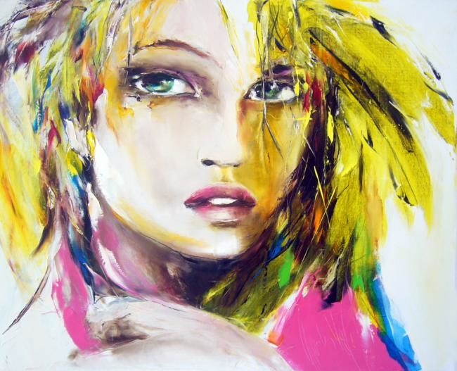 femme oiseau - Painting,  31.5x39.4 in, ©2012 by Christian Vey -