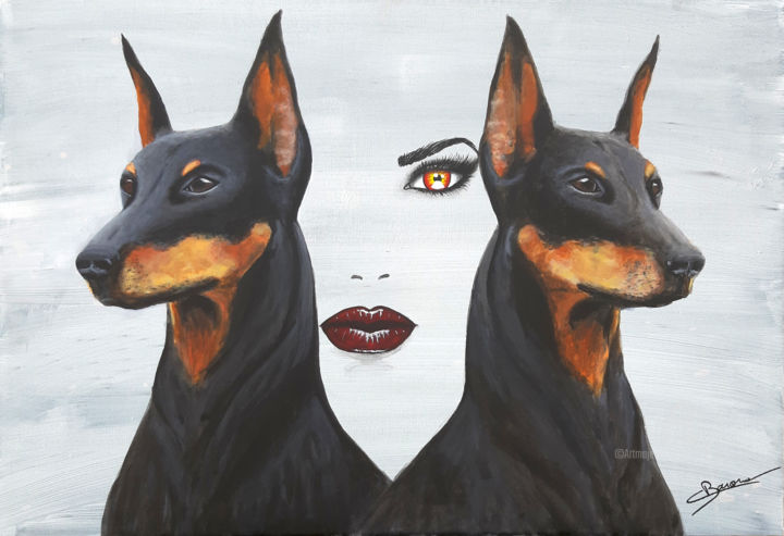 Stay by my side - Painting,  15x21.7 in ©2019 by Christine Barone -                                                                                                        Figurative Art, Contemporary painting, Portraiture, Animals, Dogs, Women, Portraits, doberman, visage, femme, portrait, chien, peinture figurative, peinture contemporaine, tableau, peinture, art, figuratif, contemporain, moderne, protection, stay by my side, force tranquille, peintre, france, marseille, christine barone