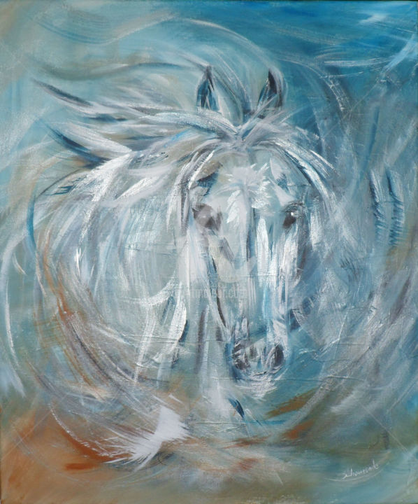 """Painting titled """"Cheval bleu"""" by Christine Chaussade, Original Art, Acrylic"""