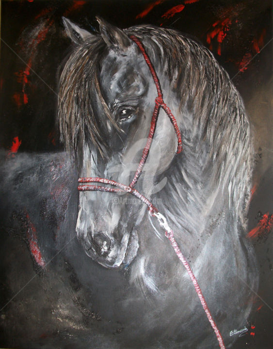 licol rouge 2 - Painting,  73x1x54 cm ©2013 by Christine Chaussade -            cheval