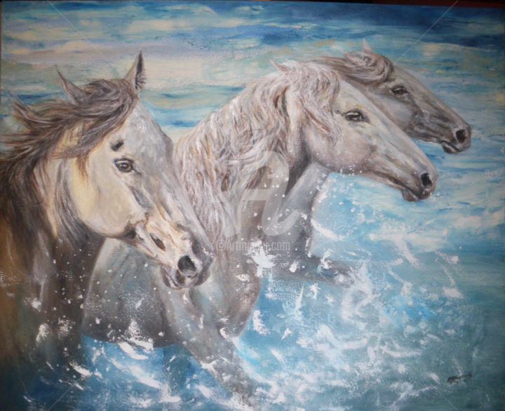 La dérobade - Painting,  80x100x1 cm ©2014 by Christine Chaussade -                                                            Figurative Art, Canvas, Animals, cheval, équidé, camargue