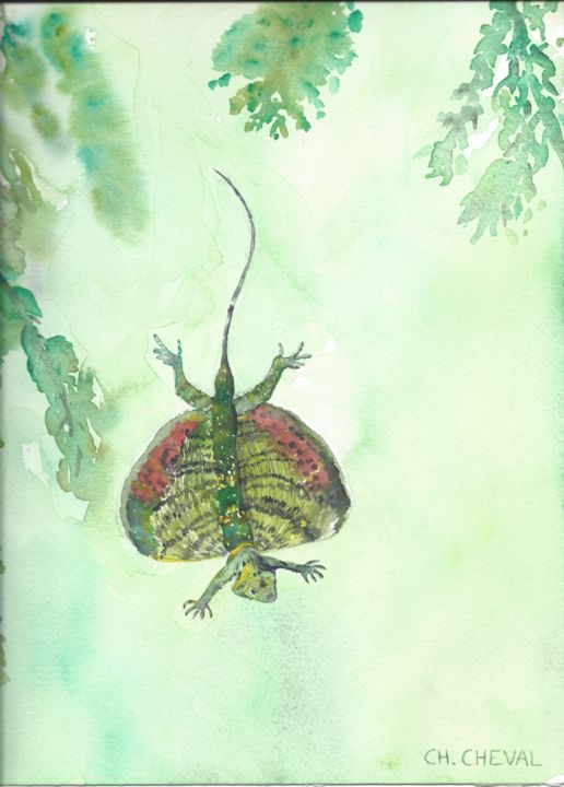"""Painting titled """"Dragon volant"""" by Christine Cheval, Original Art, Watercolor"""