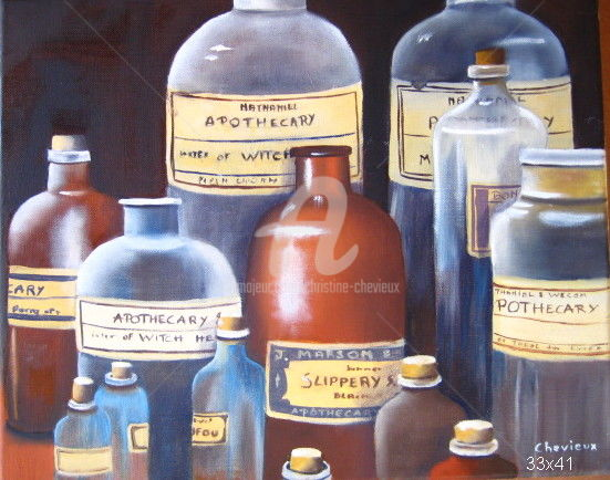 """Painting titled """"pharmacie"""" by Christine Chevieux, Original Art, Oil"""