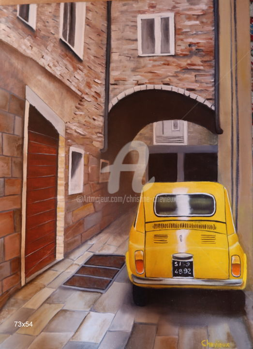 Car Painting, oil, figurative, artwork by Christine Chevieux