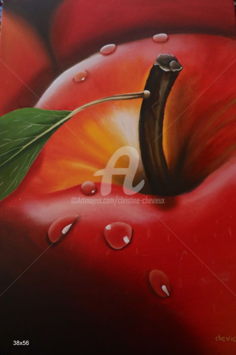 Still life Painting, oil, figurative, artwork by Christine Chevieux