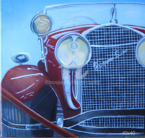hispano - Peinture,  15,8x15,8 in, ©2017 par Christine Chevieux -                                                                                                                                                                          Figurative, figurative-594, Automobile