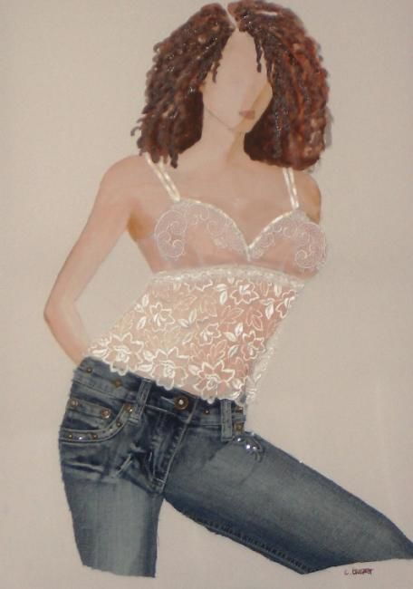 Jeans - Painting,  27.6x19.7 in, ©2007 by Christine Bousquet -                                                              Jeans
