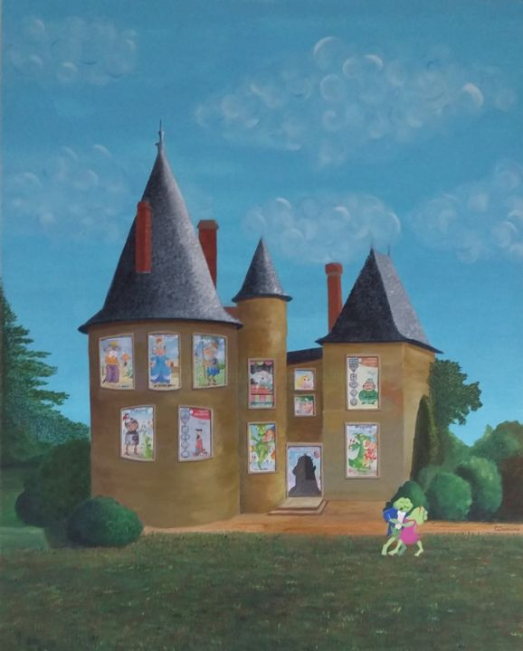 """""""Chateau des 7 familles"""" - Painting,  39.4x31.5x0.8 in, ©2018 by Christine Damiens -                                                                                                                                                                                                                                                                                                                                                                                                                                                                                                  Naive Art, naive-art-948, Love / Romance, Fairytales, crapaud, grenouille, baiser, chateau, tango, 7 familles"""