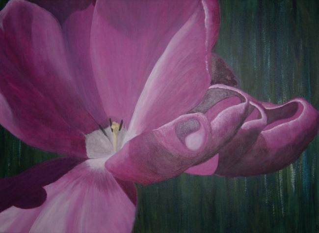 """Naissance"" - Painting,  80x100 cm ©2011 by Christine Damiens -            tulipe rose"