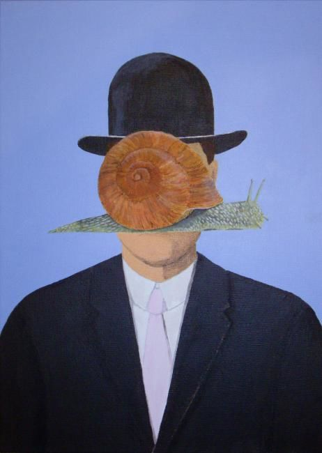 Le fils du temps - Painting,  46x33 cm ©2012 by Christine Damiens -                            Contemporary painting, homme à l'escargot