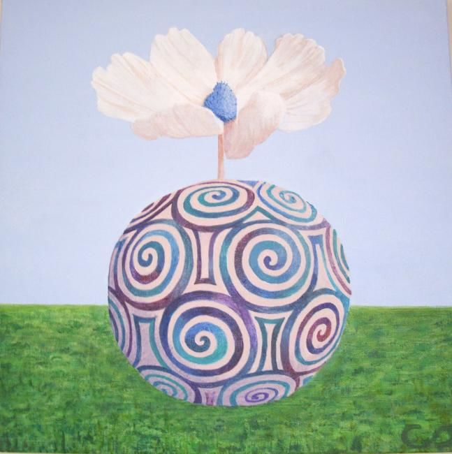 """issue vitale"" - Painting,  40x40 cm ©2012 by Christine Damiens -                            Contemporary painting, une cosmos qui sort d'un vase"
