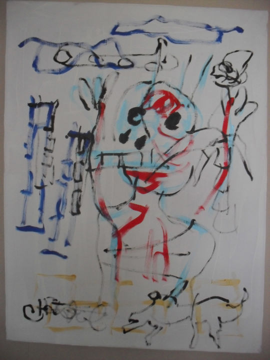 """Painting titled """"all the world is ha…"""" by Chris Sandee, Original Art, Acrylic"""
