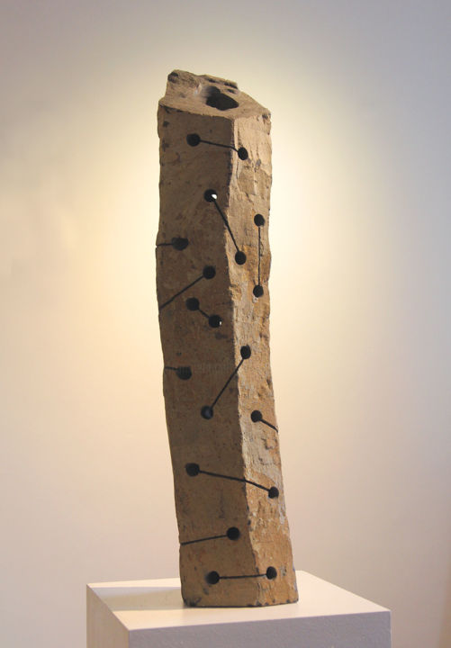 Basalt column 2 (2014) - Sculpture,  25.6x5.5x5.5 in, ©2018 by Christoph Jakob -                                                                                                                                                                                                                                                                                                                                                                  Abstract, abstract-570, Stone, Abstract Art, fine art, contemporary art, affordable art