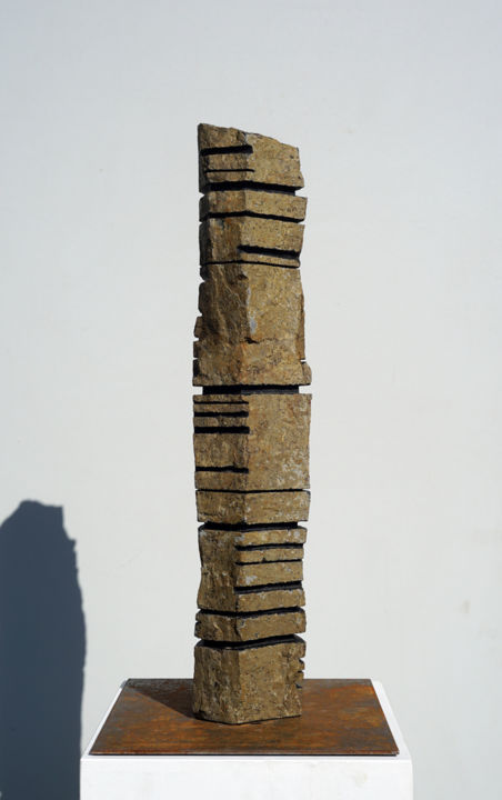Basalt Column 4 (2018) - Sculpture,  25.6 in, ©2018 by Christoph Jakob -                                                                                                                                                                                                                                                                                                                                                                  Abstract, abstract-570, Stone, Abstract Art, fine art, contemporary art, affordable art