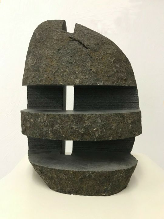 Findling 2, G-NOM Cut (2013) - Sculpture,  11.8x8.3x4.7 in, ©2013 by Christoph Jakob -                                                                                                                                                                                                                                                                                                                                                                  Abstract, abstract-570, Stone, Abstract Art, fine art, contemporary art, affordable art