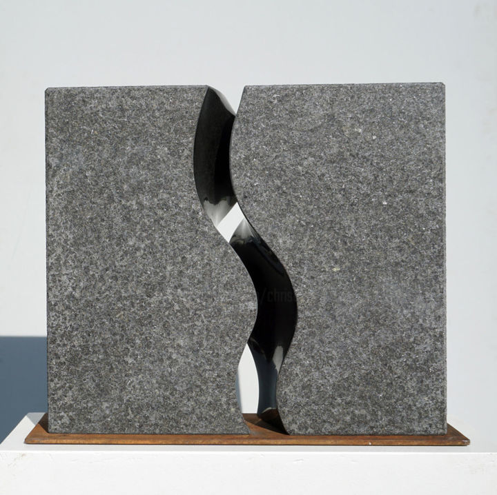 Basanit 01 - Sculpture,  17.3x19.7x3.9 in, ©2012 by Christoph Jakob -                                                                                                                                                                                                                                                                                                                                                              Abstract, abstract-570, Fantasy, stone, sculpture, basalt, outdoor