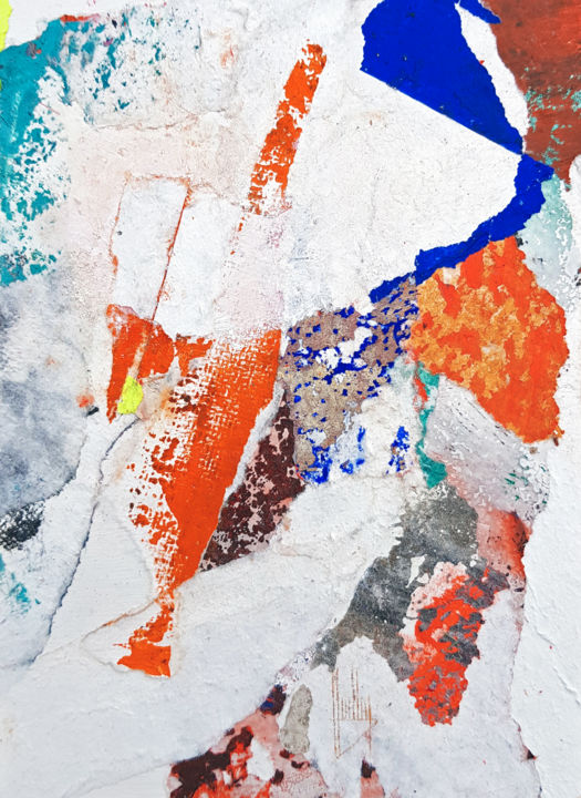 Fragment N°15 - Painting,  7.1x5.1x0.2 in, ©2020 by Christophe Houllier -                                                                                                                                                                                                                                                                                                                                                                                                                                                                                                                                                                                                                                                                                                                                                                                                                                                                                                              Abstract, abstract-570, Aerial, Body, Outer Space, Colors, Light, spiritualité, identité, espace, vide, bleu, orange, marron, blanc, collage, organique, papier, graffiti